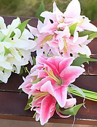 baratos -Flores artificiais 11 Ramo Clássico / Solteiro (L150 cm x C200 cm) Estiloso / Pastoril Estilo Lírios Flor de Mesa