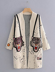 cheap -women's going out long sleeve long cardigan - animal v neck