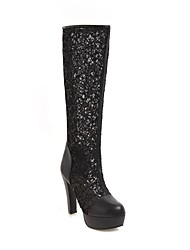 cheap -Women's Fashion Boots Mesh Fall Boots Chunky Heel Knee High Boots White / Black / Beige