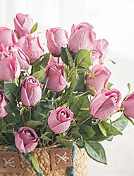 baratos -Flores artificiais 1 Ramo Clássico Vintage / Europeu Rosas Flor de Mesa