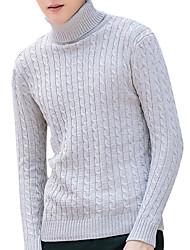 Недорогие -Муж. Длинный рукав Пуловер - Однотонный Хомут