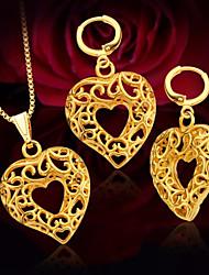 billige -Dame Foxtail kæde Smykkesæt - Hjerte Stilfuld, Romantik, Sød Omfatte Dråbeøreringe / Halskædevedhæng Guld Til Fest / Stævnemøde