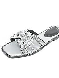 baratos -Mulheres Sapatos Camurça Primavera Verão Conforto Chinelos e flip-flops Sem Salto Preto / Prateado