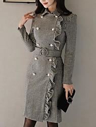cheap -Women's Going out Skinny Sheath Dress Shirt Collar