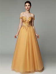 cheap -Princess V Wire Floor Length Tulle Vintage Inspired Formal Evening Dress with Beading by TS Couture®