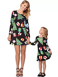 cheap -Adults / Kids / Toddler Mommy and Me Geometric Long Sleeve Dress