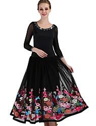 baratos -Dança de Salão Vestidos Mulheres Espetáculo Elastano Estilo Floral Disperso / Franzido Manga Longa Vestido