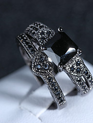 baratos -Mulheres Estilo vintage Conjunto de anéis - Imitações de Diamante Coração Artistíco, Vintage 6 / 7 / 8 / 9 / 10 Preto Para Festa Mascarilha / 2pcs