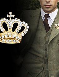billiga -Herr Kubisk Zirkoniumoxid Retro / Trendig Broscher - Kreativ, Krona Lyx, Mode, Brittisk Brosch Guld / Silver Till Party / Dagligen