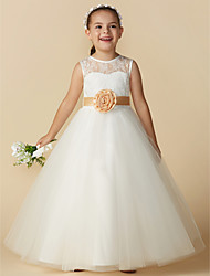 cheap -Princess Ankle Length Flower Girl Dress - Lace / Tulle Sleeveless Jewel Neck with Bow(s) / Sash / Ribbon / Flower by LAN TING BRIDE®