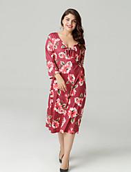 baratos -Mulheres Tamanhos Grandes Delgado Evasê Vestido Decote V Altura dos Joelhos