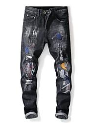 baratos -Homens Moda de Rua Jeans Calças - Listrado / Estampa Colorida