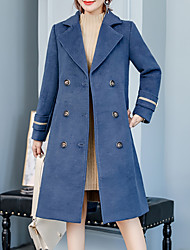 cheap -Women's Street chic / Sophisticated Coat - Solid Colored
