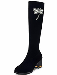 cheap -Women's Shoes Suede Fall & Winter Fashion Boots Boots Chunky Heel Round Toe Knee High Boots Rhinestone / Bowknot Black