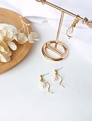 abordables -Mujer Perla Elegante Pendientes colgantes / cuelga los pendientes - Perla, S925 Sterling Silver Ola Elegante, Artístico Dorado Para Cita / Trabajo