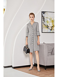 Недорогие -Жен. Праздники / На выход Маленькое черное Платье V-образный вырез Выше колена