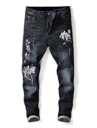 cheap -Men's Street chic Jeans Pants - Floral Black & White, Embroidered