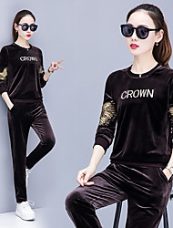 cheap -Women's Embroidery Tracksuit - Black, Royal Blue, Burgundy Sports Letter Velvet Pants / Trousers / Sweatshirt Running, Fitness, Dance Long Sleeve Activewear Breathable, Comfortable Stretchy