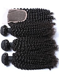cheap -3 Bundles with Closure Brazilian Hair Kinky Curly Human Hair Hair Weft with Closure 14 inch Natural Human Hair Weaves 4x4 Closure Human Hair Extensions Women's