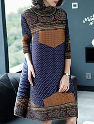 economico -Per donna Essenziale / Elegante Fodero Vestito A pois / Monocolore / A quadri Sopra il ginocchio