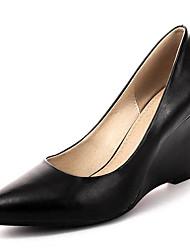 cheap -Women's Shoes Nappa Leather Spring Basic Pump Heels Wedge Heel White / Black