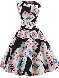 baratos -Mulheres Para Noite Vintage Algodão Evasê Vestido - Estampado, Gráfico Altura dos Joelhos