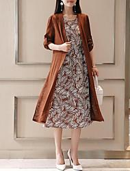 Недорогие -Жен. Большие размеры На выход Хлопок Из двух частей Платье - Контрастных цветов, С принтом Средней длины / Сексуальные платья