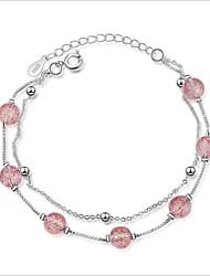 cheap -Women's Stylish Strand Bracelet - S925 Sterling Silver Creative Korean Bracelet Pink For Wedding / Daily
