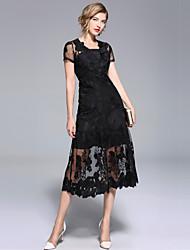 abordables -Mujer Sofisticado / Elegante Pequeño Negro Vestido - Encaje / Malla, Un Color Midi