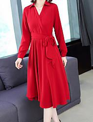 cheap -Women's Beach Basic Chiffon Dress Shirt Collar