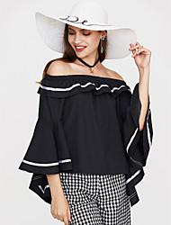 abordables -Tee-shirt Femme, Couleur Pleine - Coton Epaules Dénudées / A Volants