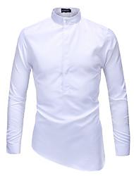 baratos -Homens Camisa Social Negócio / Moda de Rua Patchwork, Sólido / Estampa Colorida