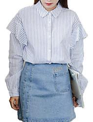 cheap -Women's Basic Shirt - Striped Patchwork