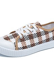 billige -Dame PU Sommer Komfort Sneakers Flade hæle Rund Tå Sort / Rød / Lysebrun / Farveblok
