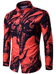 Недорогие -Муж. Рубашка Классический Геометрический принт / Этно