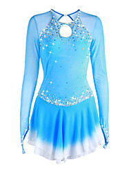 abordables -Robe de Patinage Artistique Femme / Fille Patinage Robes Bleu Pâle Teinture Halo Spandex Haute élasticité Concurrence Tenue de Patinage Fait à la main Couleur Pleine Manches Longues Patinage sur