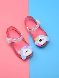 baratos -Para Meninas Sapatos PVC Verão Plástico Rasos Velcro para Bébé Preto / Rosa claro / Amêndoa