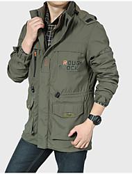 Недорогие -Муж. Куртка Классический - Однотонный Пэчворк