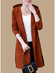 cheap -women's long sleeve long cardigan - solid colored hooded