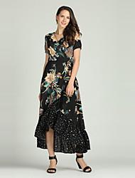 cheap -Women's Boho / Elegant Trumpet / Mermaid / Abaya / Jalabiya Dress - Floral Print
