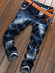 Недорогие -Муж. Активный Большие размеры Хлопок Тонкие Джинсы Брюки - камуфляж С прорезями Синий