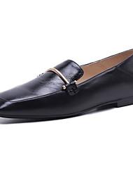 abordables -Femme Chaussures Cuir Nappa Printemps Confort Mocassins et Chaussons+D6148 Talon Plat Noir / Marron