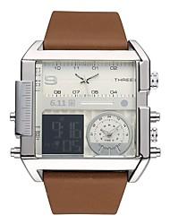 Недорогие -Муж. Спортивные часы Кварцевый Натуральная кожа Черный / Коричневый Фосфоресцирующий Cool Цифровой На каждый день Мода - Черный Серебряный / Нержавеющая сталь