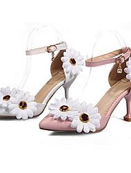 abordables -Femme Chaussures Polyuréthane Automne hiver D'Orsay & Deux Pièces Chaussures de mariage Kitten Heel Bout pointu Fleur en Satin / Boucle Blanc / Rose / Mariage / Soirée & Evénement