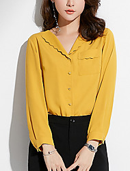 cheap -women's blouse - solid colored shirt collar