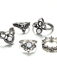 cheap -Women's Cut Out / Retro Midi Ring - Flower, Crown Tropical, Romantic Adjustable Silver For Evening Party / Festival / 5pcs