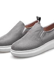 Недорогие -Жен. Обувь Искусственный мех Весна / Лето Удобная обувь Мокасины и Свитер На плоской подошве Закрытый мыс Черный / Серый