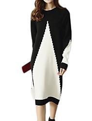 baratos -Mulheres Básico Tricô Vestido Sólido Altura dos Joelhos