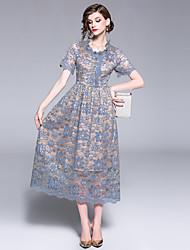 Недорогие -Жен. Винтаж / Изысканный А-силуэт Платье - Однотонный, Кружева / Пэчворк Средней длины