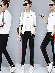 cheap -Women's Pocket / Front Ziper 3pcs Tracksuit - Black, Yellow, Red Sports Stripe Jacket / Tee / T-shirt / Pants / Trousers Yoga, Running, Fitness Long Sleeve Activewear Thermal / Warm, Breathable